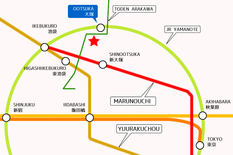 Tokyo International Exchange College Ikebukuro Train Map